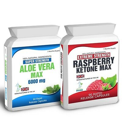 90 Raspberry Ketone Plus 60 Aloe Vera Colon Cleanse Capsules