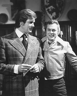 Roger Moore Tony Curtis The Persuaders! 8x10 Photo on set b/w
