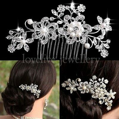 Silver Bridal Wedding Flower Pearls Hair Comb Clip Diamante Crystal Rhinestone