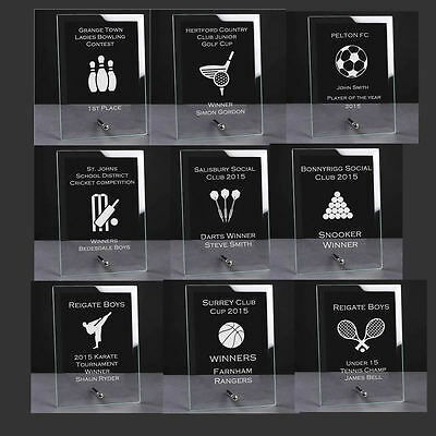 Personalised Engraved Glass Plaque Trophy Award, Football Golf Darts Rugby