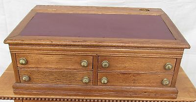 Victorian Solid Oak Table Top Clerk's Desk With Leather Top