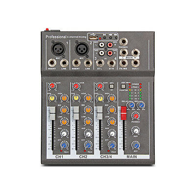 Professional 4 Channel PA Mixer with effects USB