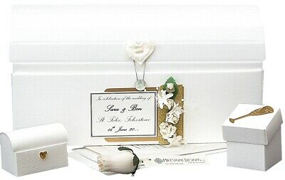 PERSONALISED Wedding Keepsake CHEST Linen/Gold 4 Motifs in 20 Colours + Extras