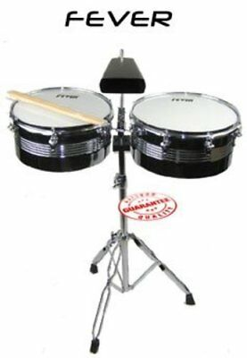Fever Timbales Set 13 and 14 Inches with Stand Silver Shells, TB-1314-SV