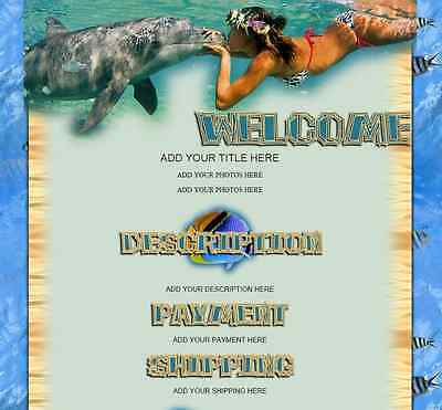 TROPICAL SWIM eBay Listing Auction Template HTML code page layout Ocean Dolphin