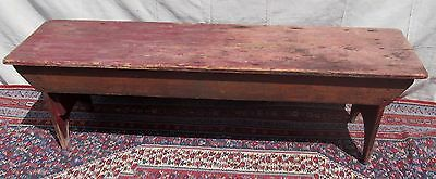 19Th C New England Antique Pine Primitive Bucket Bench In Old Red Paint