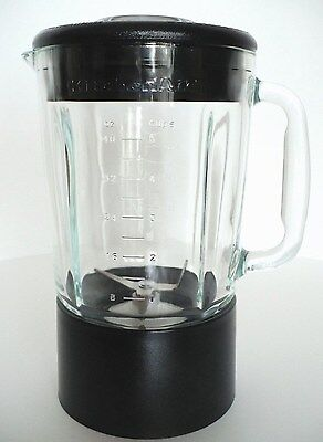 40 oz KITCHEN AID BLENDER PITCHER Glass Jar 5 Cup Canister unit Blue base & Lid