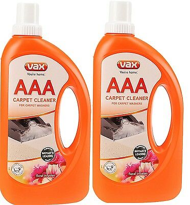 2 x Vax AAA Improved Carpet Formula Cleaning Solution Shampoo 750ML