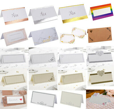 50 Wedding Table Place Name Cards - 19 Different Designs to choose from.