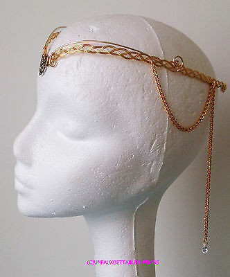 Celtic Gothic Thrones Gold Knotwork Heart & Crystal Scrolls Circlet Wedding