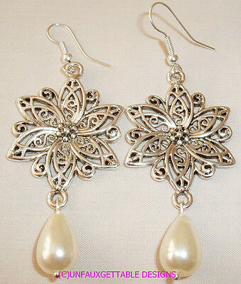 Medieval Silver  Filigree Flower Drop Earrings  Larp Ren Re-Enactor Costume