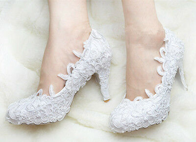 Handmade White Floral Lace Bridal Shoes Pearl High Heel Wedding Shoes UK3-7