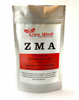 Live Well all natural ZMA Capsules Zinc, Magnesium & Vitamin B6.Free UK delivery