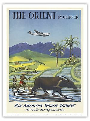 Orient Rice Paddy Pan Am Airplane Vintage Airline Travel Art Poster Print