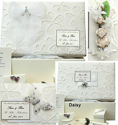 LARGE Embossed Daisy PERSONALISED Wedding Keepsake Box 5 Motif/12 Colour/Extras