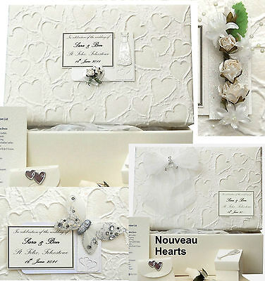 PERSONALISED Nouveau Hearts STD Wedding Keepsake Box 5 Motifs/12 Colours/Extras