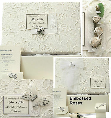 PERSONALISED Embossed Roses STD Wedding Keepsake Box 5 Motifs/12 Colours/Extras