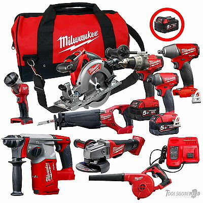 Milwaukee 18V Brushless 9-Pc Kit M18Fpp6C-502B+M18Fiwp12+M18Ch+M18Bbl+(3) 5Ah