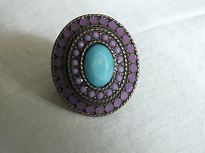 Brass Tone Cocktail Ring Stretch Chunky Purple Enamel & Rhinestones Turquoise
