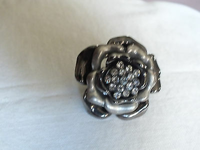 Silver & Black Tone Cocktail Ring Stretch Chunky Clear Rhinestones STUNNING