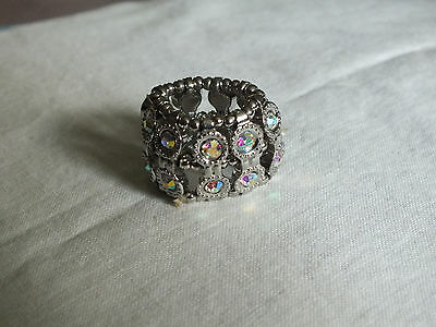 Silver Tone Cocktail Ring Stretch Chunky Sparkling AB Rhinestones Band Style WOW