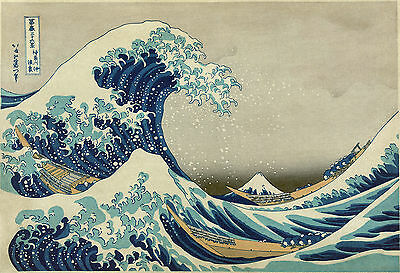 The big wave off Kanagawa  Huge A0 84x118.8cm painting Canvas Art Print Unframed