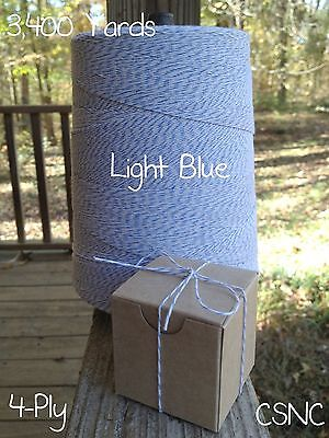 Light Blue +  White Variegated Cotton Baker's Twine 2 lb. Cone - 3,400 Yards