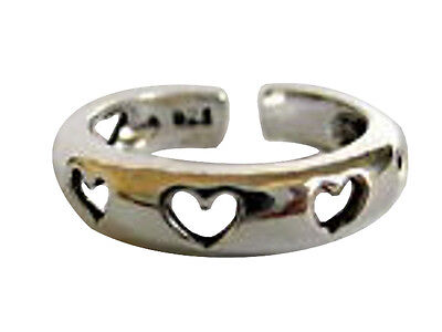 Sterling Silver (925)  Adjustable  Hearts  Toe  Ring   !!     Brand New !!