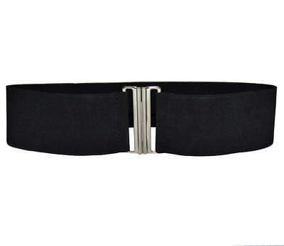 BLACK ELASTIC STRETCH CHROME CINCH BUCKLE NURSE BELT 5.5cm WIDE Sizes S M L XL