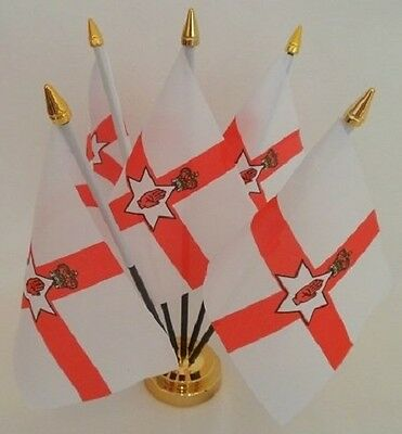 Northern Ireland Red Hand 5 Flag Flags Table Display Centrepiece Gold Base