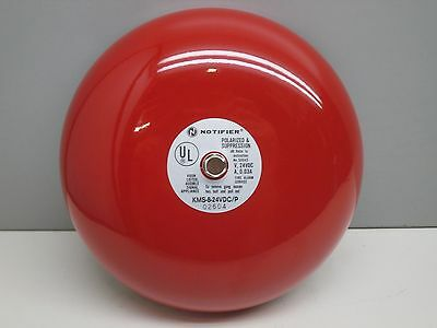 """Notifier KMS-8-24VDC/P Polarized & Supression Fire Alarm Bell 8"""" Red 24-VDC"""