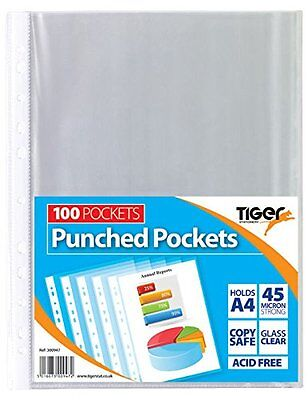 A3 ,A4 STRONG GLASS CLEAR PLASTIC WALLETS Poly Punched Pocket Document Paper