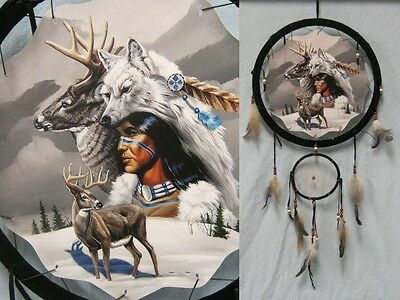13in Deer and Wolf Double Dream Catcher Reproduction