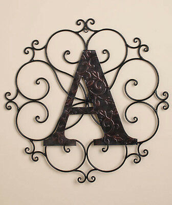METAL WALL WROUGHT BRONZE MONOGRAM MEDALLION PERSONALIZED Initial Scroll ART New
