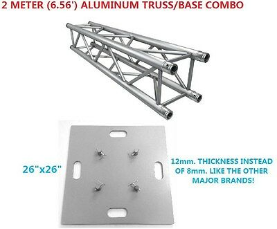 "2 Meter 6.56' Aluminum Truss Section With 26""x26"" 12mm Thick Aluminum Base Plate"