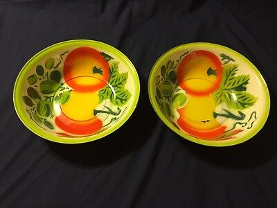 "Two Vintage 12 1/2"" Enamelware Vibrant Colorful Fruit Pattern Bowls"