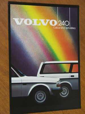 1985 Volvo 240 original Colour and Upholstery 4 page chart