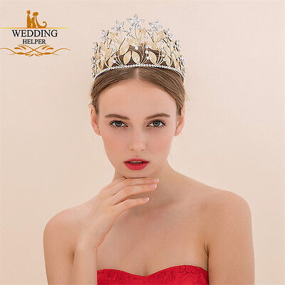 Wedding Bridal Crystal Gold Leaves Headband Crown Tiara Hair Accessories Jewelry