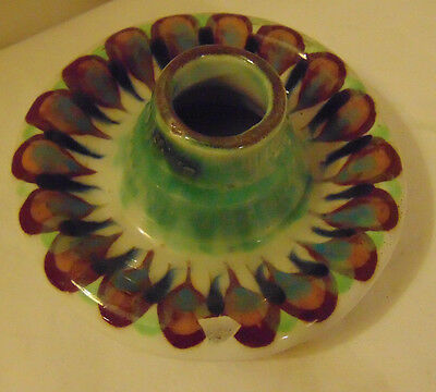 Ken Edwards Palopo Guatemala Unusual Squat Vase Peacock Feather Design