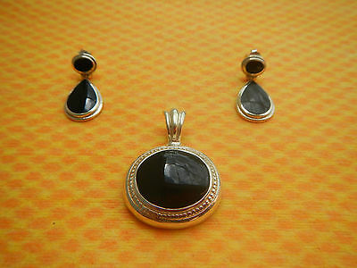 Tear Drop Shaped Black Stone Pendant and Earrings- Sterling Silver .925 Mexico
