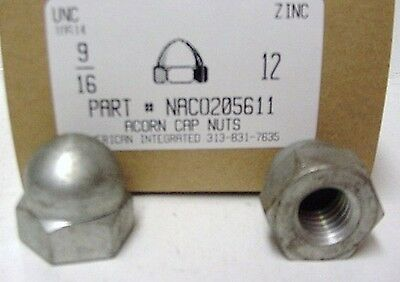 9/16-12 Acorn Cap Nuts Steel Zinc Plated (4)