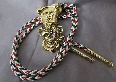 Shriner's Chef Purveyors  White And Red Braid Bolo Tie