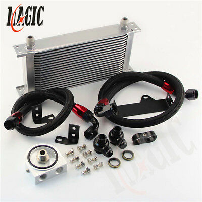 19 Row Engine Oil Cooler Kit Silver w/Filter Adapter For WRX STi 06-07 EJ20 EJ25