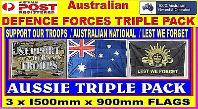 Australian flag Support our troops flag + ANZAC Lest we forget flag