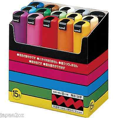 8/15 UNI POSCA PENS Chisel Type PC-8K 8mm. Colour Paint Markers - Made in Japan