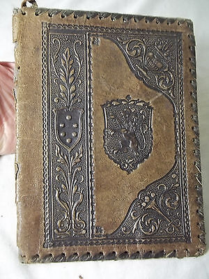 Early Vintage 1900s Leather Book Cover Tooled Medieval Lion Shield Design