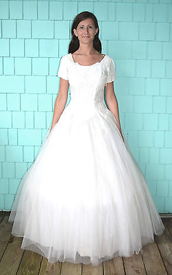 Vintage 50's Atomic Rockabilly White Tulle Lace Ball Gown Wedding Dress Size S/M