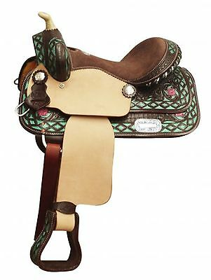 """13"""" Double T Youth Western Saddle with Metallic Teal Painted Accents"""