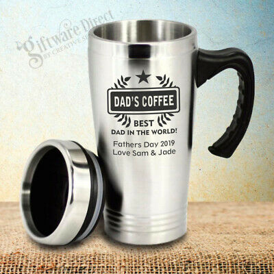 Personalised Fathers Day Travel Mug Present Gift Dad Engraved Coffee Birthday