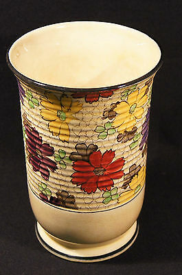 C.1930's Tuscan China Art Deco Decoro Pottery Cylindrical Vase Good Crazed Cond.